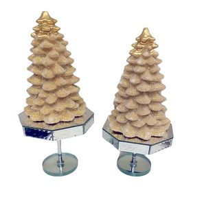 Christmas Tree Candles Mirror Stands Holiday Decor
